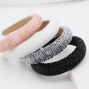 LRTOU Custom Fashion Hair Accessories Rhinestone Hair Band Headband Luxury Crystal Bead Baroque Padded Headband For Women
