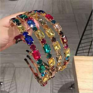 2020 Multi Color Za crystal Hairband for Women Shiny Glass Hair Accessories Geometric Wedding Headband Girls Gifts Hair Jewelry