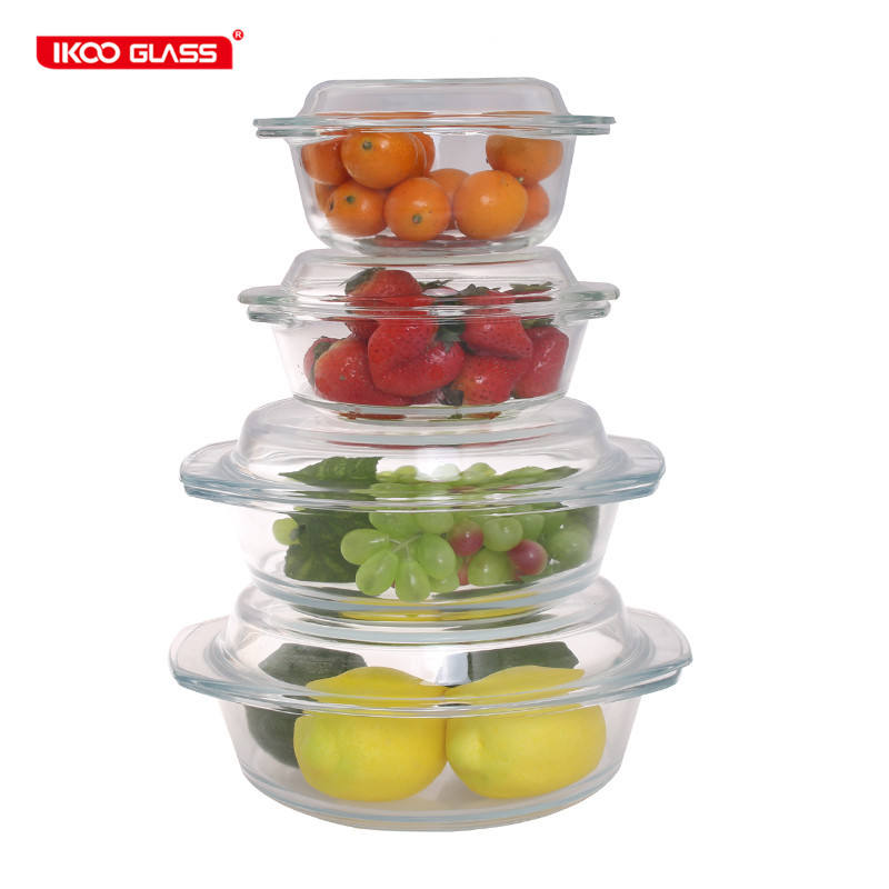 High borosilicate round heat resistant glass microwave casserole with glass lid