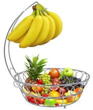Factory Supplies Metal Wire Fruit Basket With Banana Holder