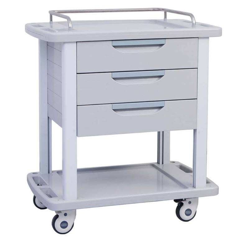 Large Size 3 Drawer ABS Hospital Medical Cart With Wheels