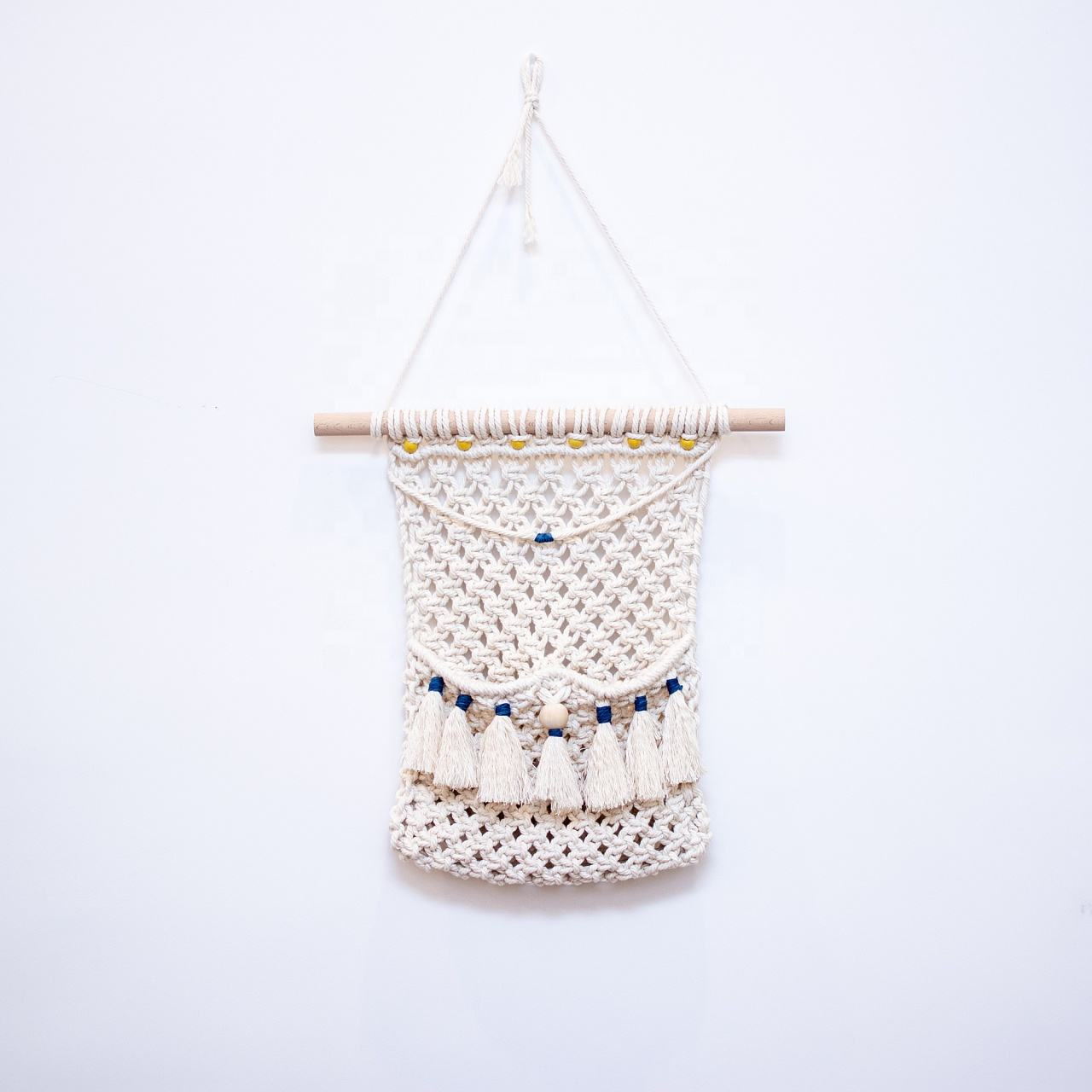bohemian decor macrame wall hanging woven decorative wall hanging baskets macrame boho storage basket