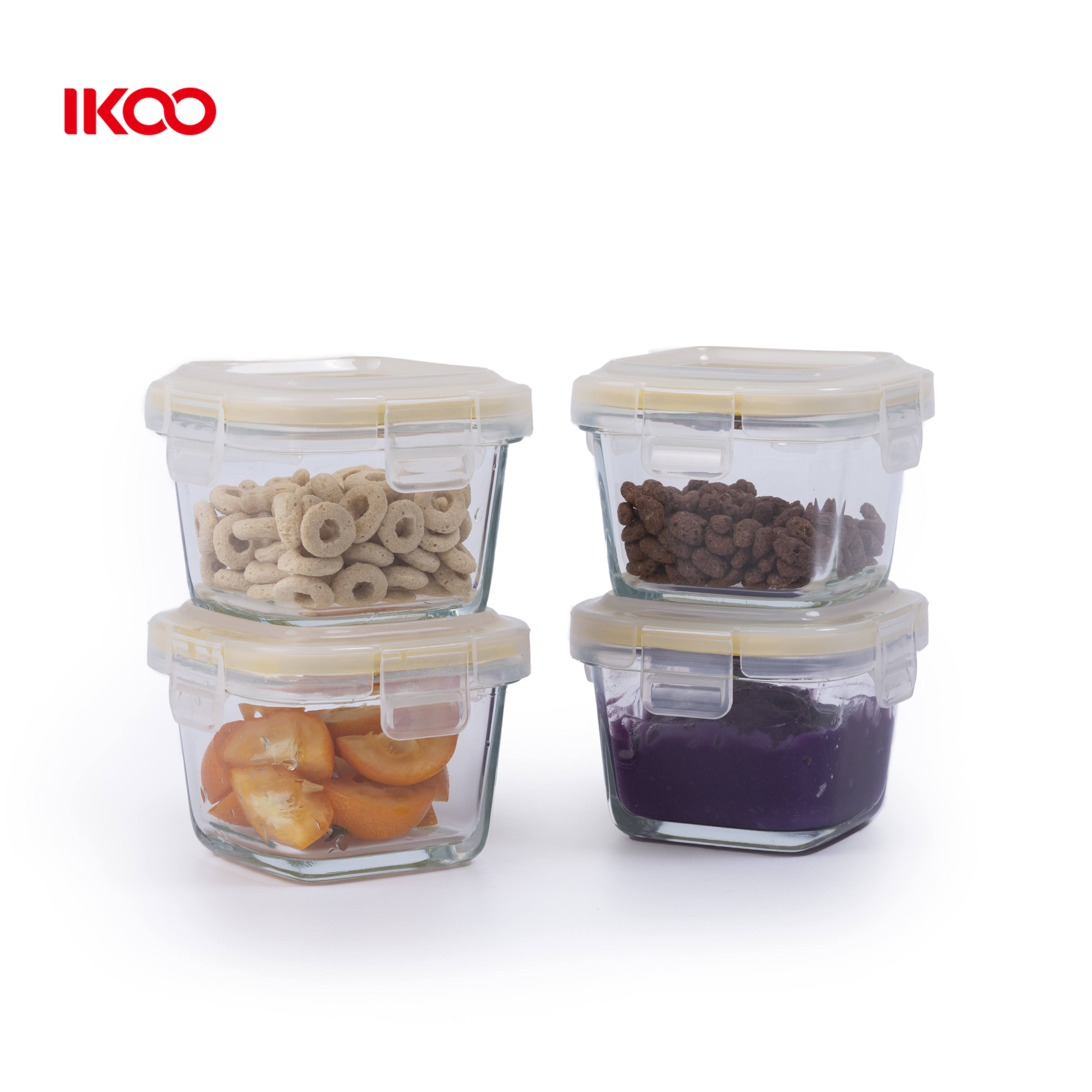 Microwave oven safe Ikoo glass baby food storage kids children bento kids lunch box