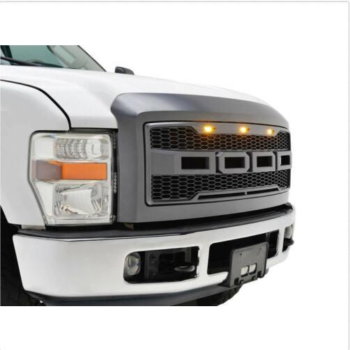 11-16 Ford Super Duty Raptor Matte Black Front Hood Mesh Grille+Shell+White LED