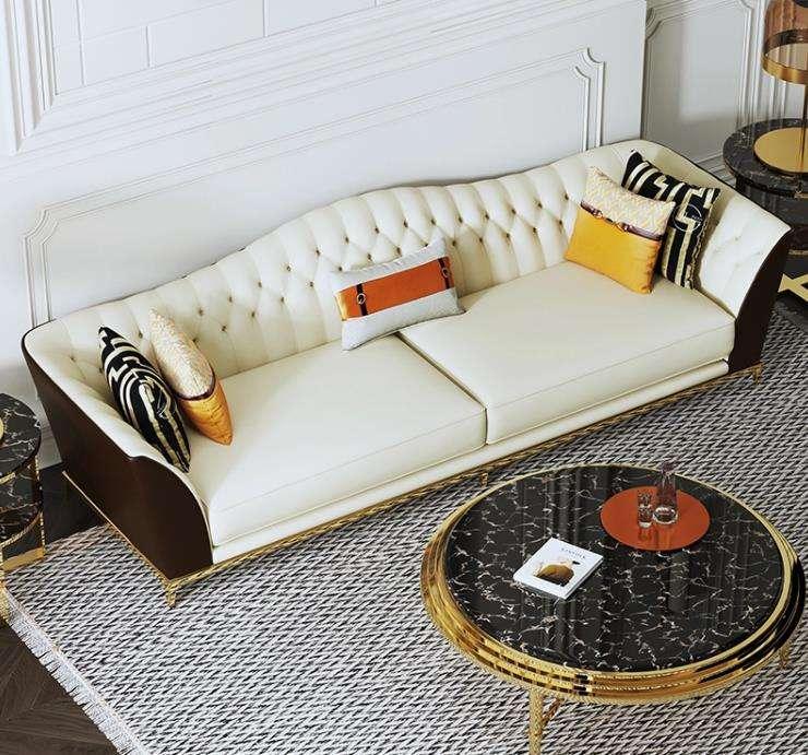 De lujo contemporáneo moderno de Chesterfield de cuero blanco sofá muebles de sala de venta