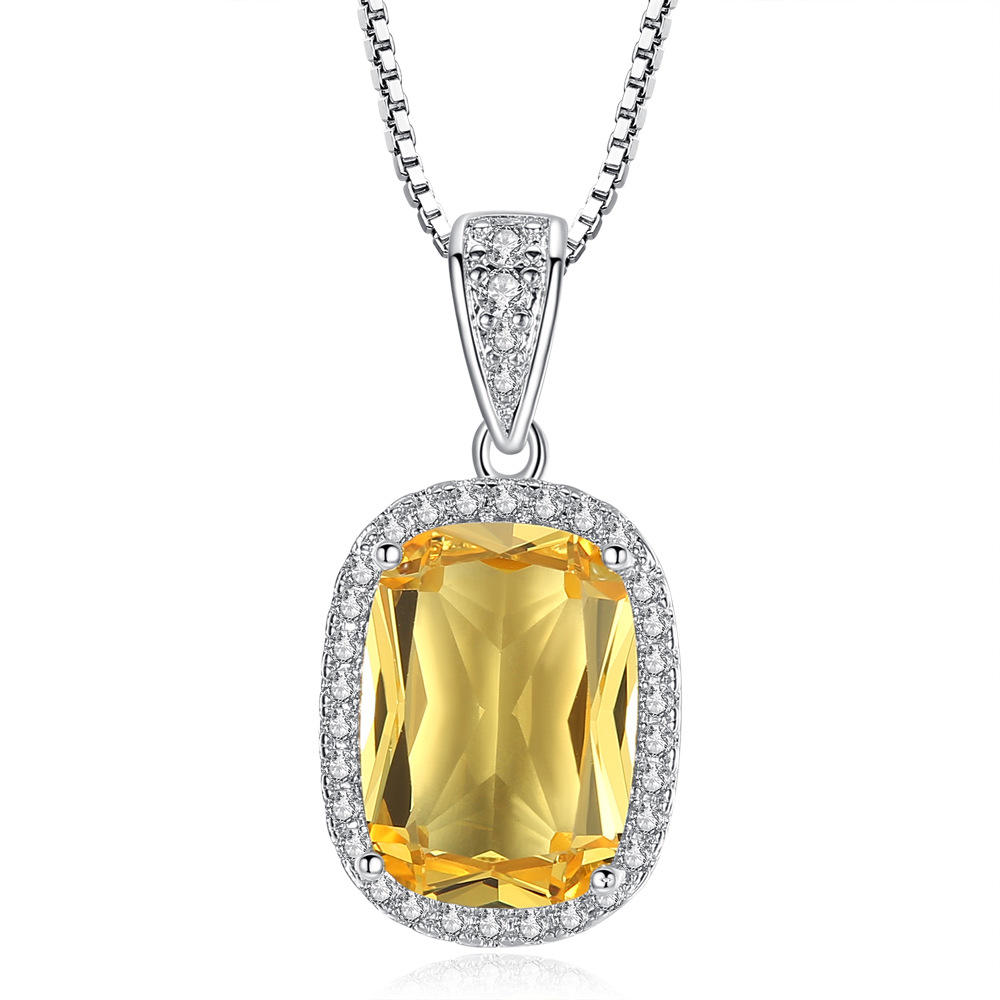 VRIUA Large Square Yellow Crystal Zircon Pendant Necklace for Women Girl Classic Four Claws Lady Neck Accessories