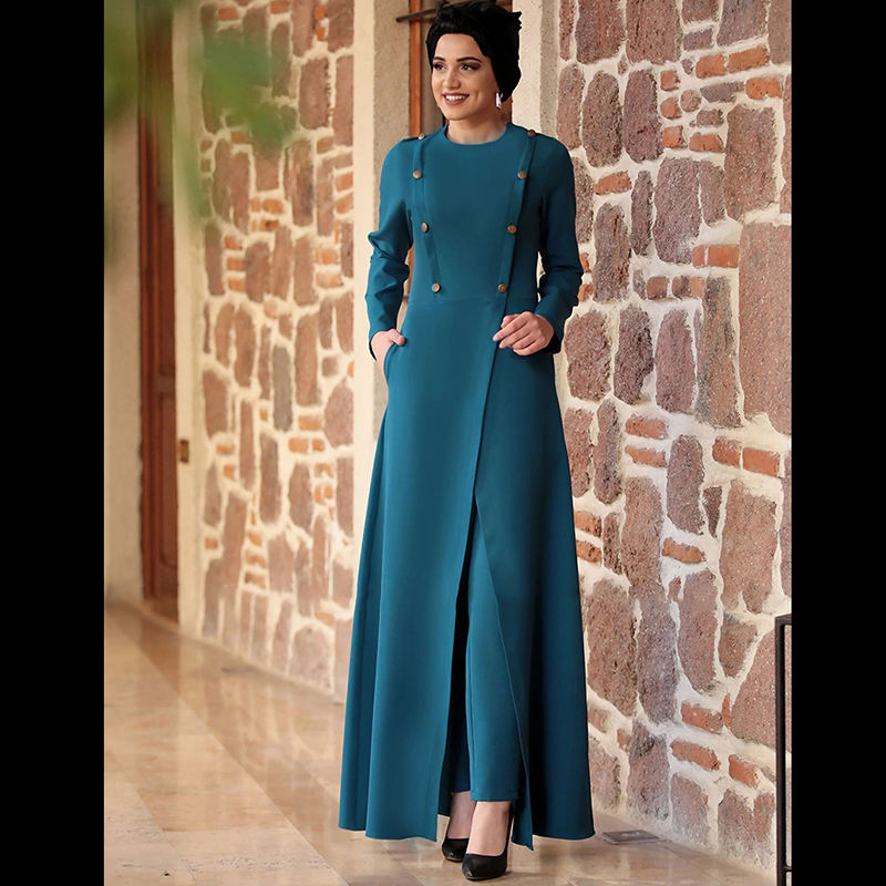 Fancy Muslim Women's Evening Dress Muslim Turkey Two-piece Suit Fashion Evening Dresses Turkey Two Piece Muslim Evening Dresses