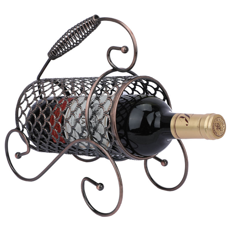Unique Decorative Artwork As A Family Or Bar Round With Handle Metal Desktop Storage Rack 7 Bottle Freestanding Countertop Wrought Iron Wine Shelf Furniture Home Bar Furniture