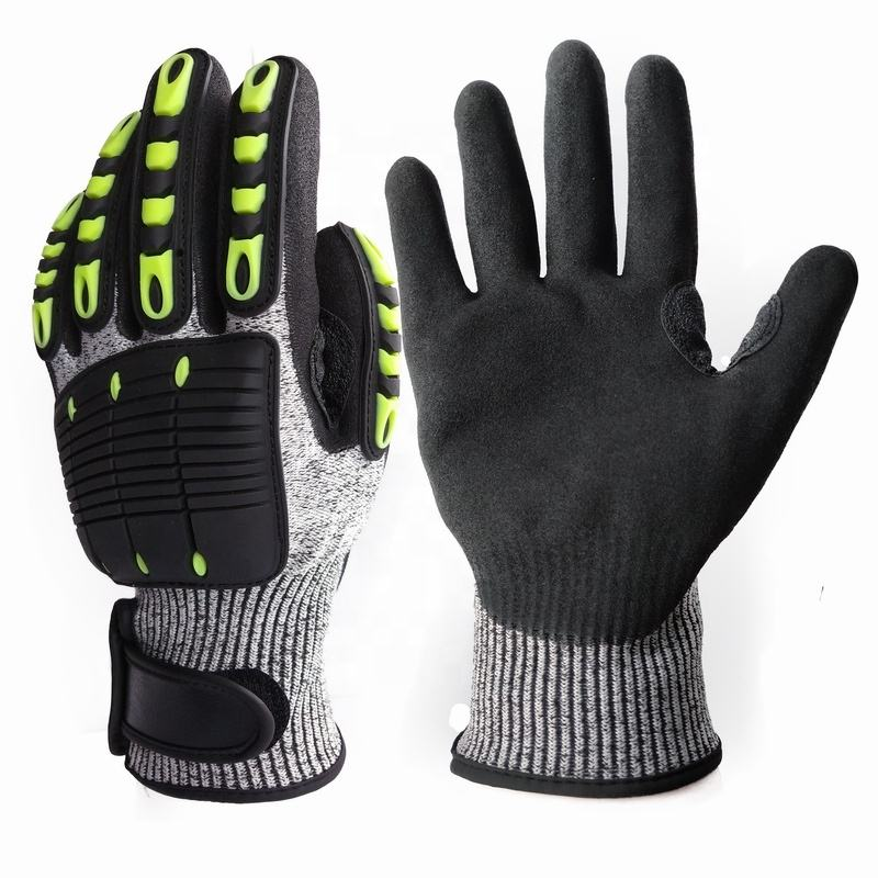 Yulan M103D Oil field Industry Mechanic TPR impact puncture cut resistant glove with sponge palm