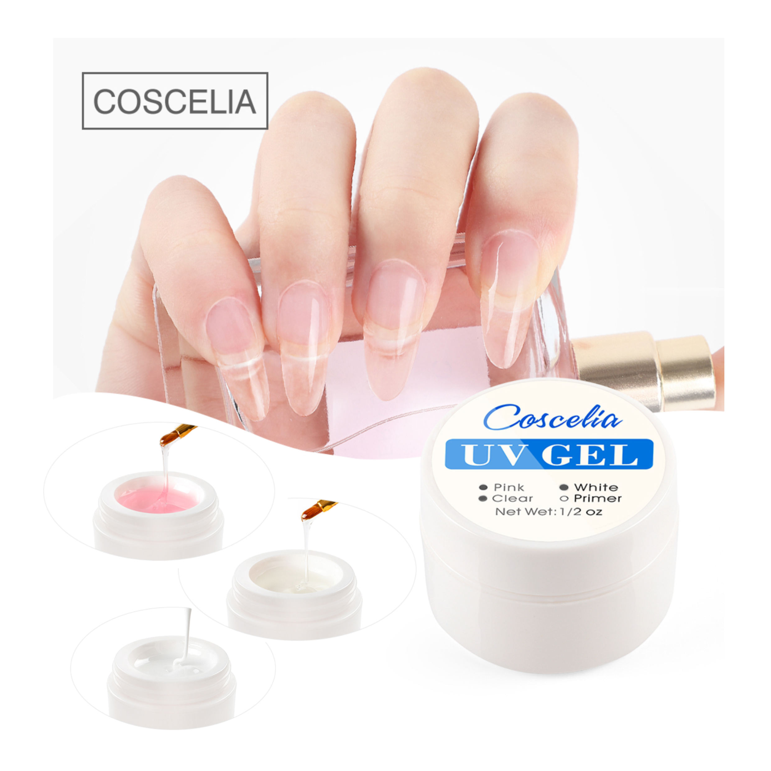COSCELIA Long Lasting UV Gel Clear Pink Builder Gel Nails