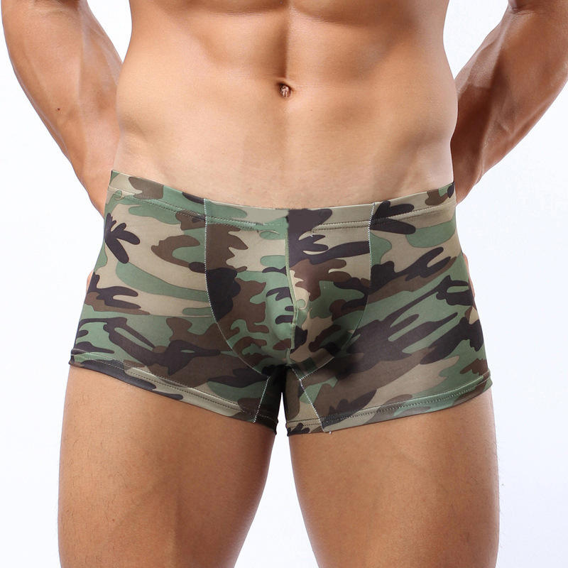 Sexy Mature Camouflage Digital Printed Latex Boxers Mans Basic Underwear