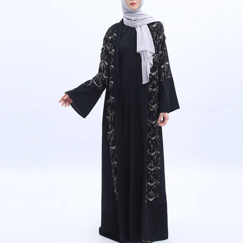 Half Bedaed Modest Long Womens Ladies Full Abaya Maxi Dress Plain Kimono 8 10 12