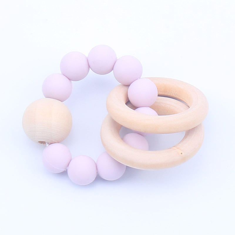 Baby Nursing Bracelets Wooden Teether Silicone Beads Teething Wood Rattles Toys Baby Teether