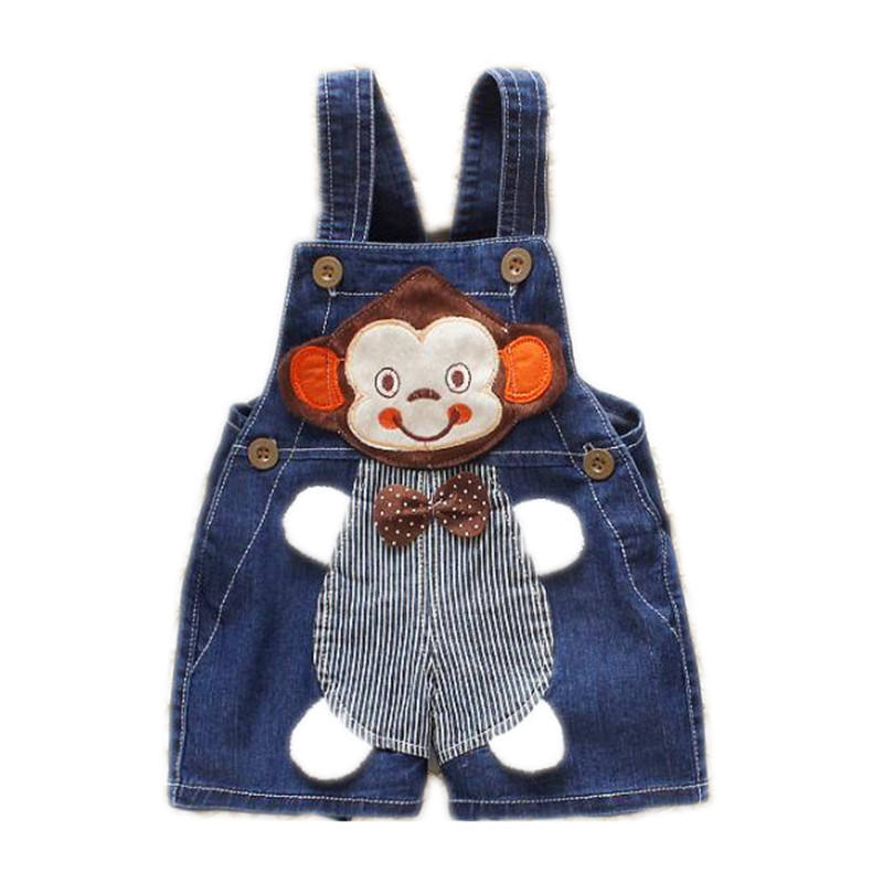 summer new arrival cheap price toddler girl overalls baby boy monkey animals jeans romper overall for sale
