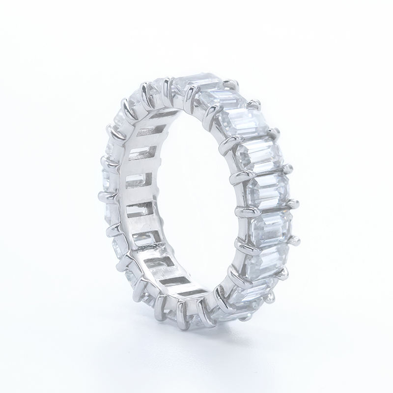 luxury eternity ring moissanite gold emerald cut moissanite ring men 925 sterling silver