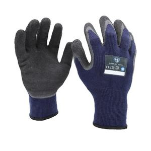F LF918TC dark blue thermal latex winter work glove 10 gauge fleece acrylic liner latex rubber crinkle coated outdoors use glove