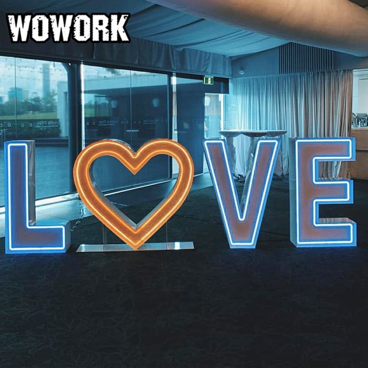 Decoration For Wedding WOWORK Hotsale Waterproof RGB Mrmrs Letter Events Lighting For Wedding Decor