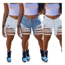 2021 Hot Selling Fashion Rivet Decorated Perforated Denim Slim Fit Casual Short Pants Summer for Women