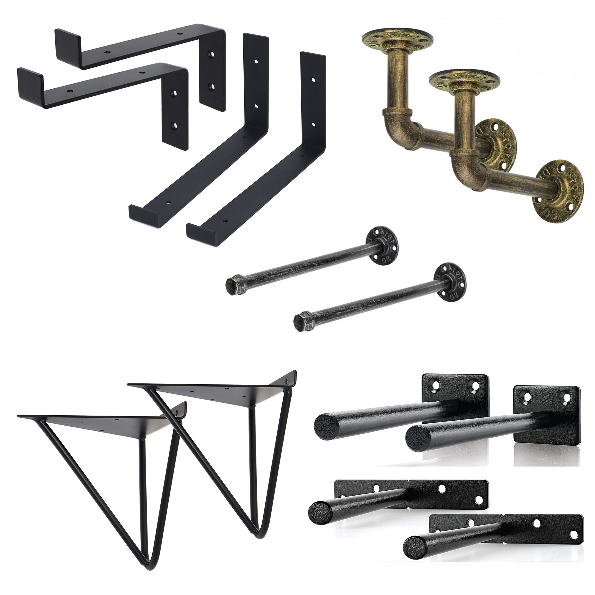 Shelves Bracket Rustic Black Solid Steel Strong Heavy Duty Diy L Set Cast Iron Metal Wall Floating Shelf Brackets For Shelves