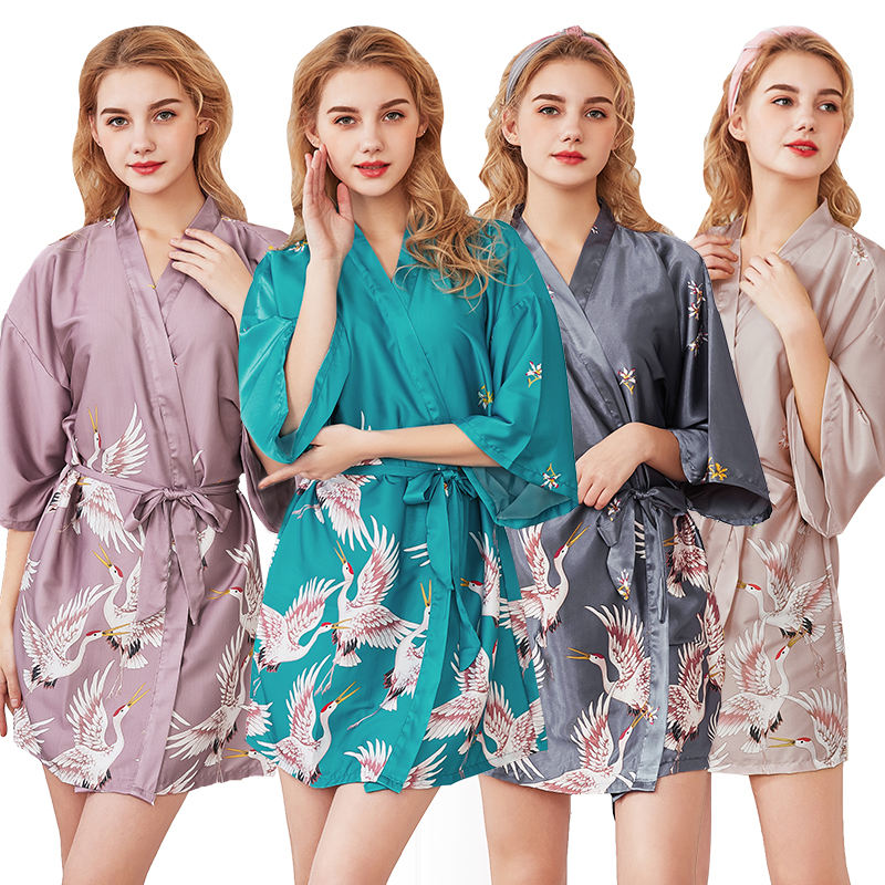 Simulation silk pajamas female summer sleeves bride dresses large size home service robe bathrobes wholesale