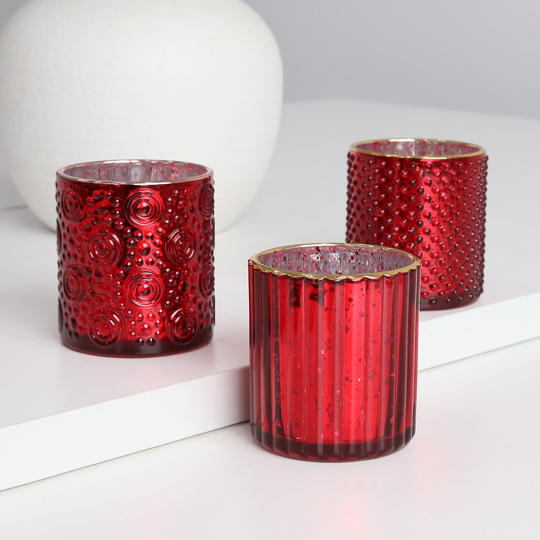 Textual China Red Votive Candle Holder For Holiday Decoration