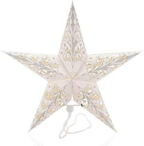 Nordic Mini White Paper Star Lantern String Lights For Christmas Tree