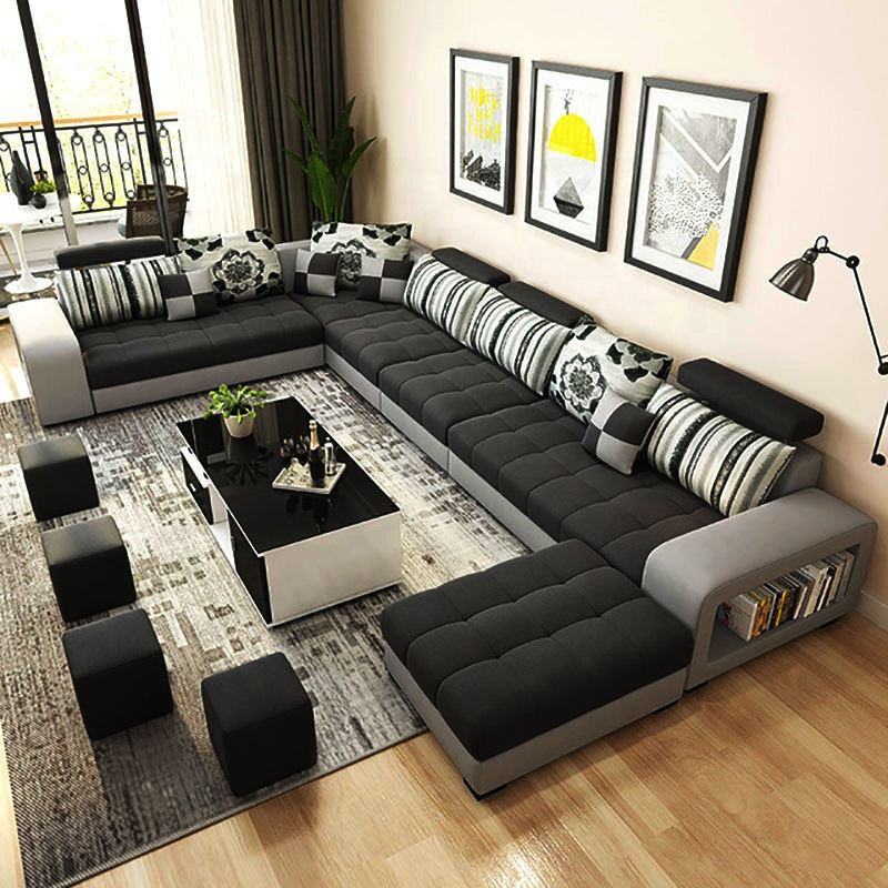 Hot selling product u shape modern latest couch furniture living room sofa set for wholesale