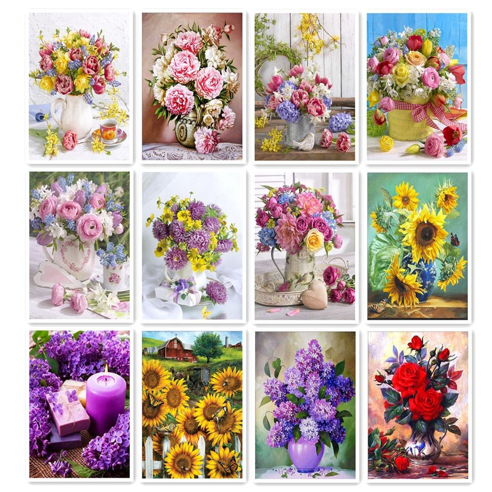5D DIY Diamond Painting Home Decoration Mosaic Leisure Gift Cross Stitch Mural Flower Combination Support Custom Picture