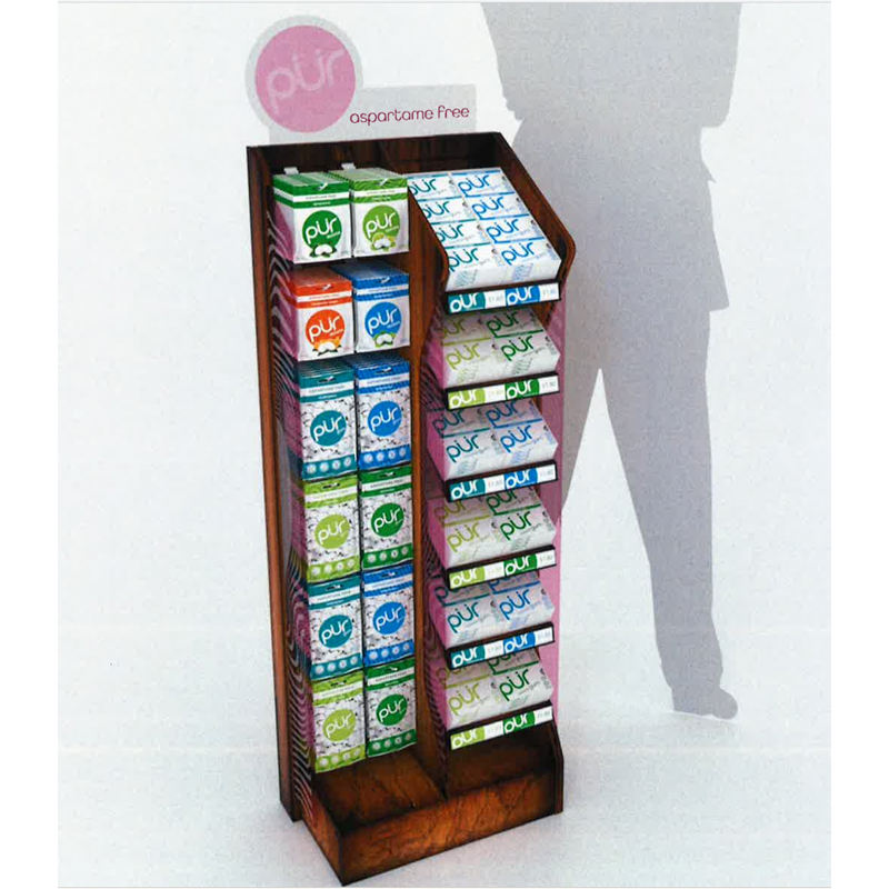 Rustic wooden display rack shelf stand for gum THE PUR COMPANY