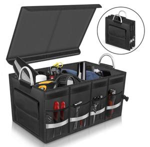 Amazon Hot Sale 1680D Car Trunk Boot Organizer Reflective Collapsible Cargo Storage Organizer with Flap on Top