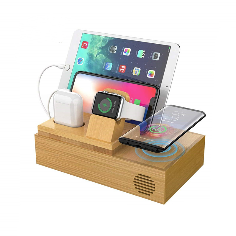 Quick Charge Multiple 5 in1 Bamboo/Wooden Wireless Charging Station usb Mobile Phone Charging Station