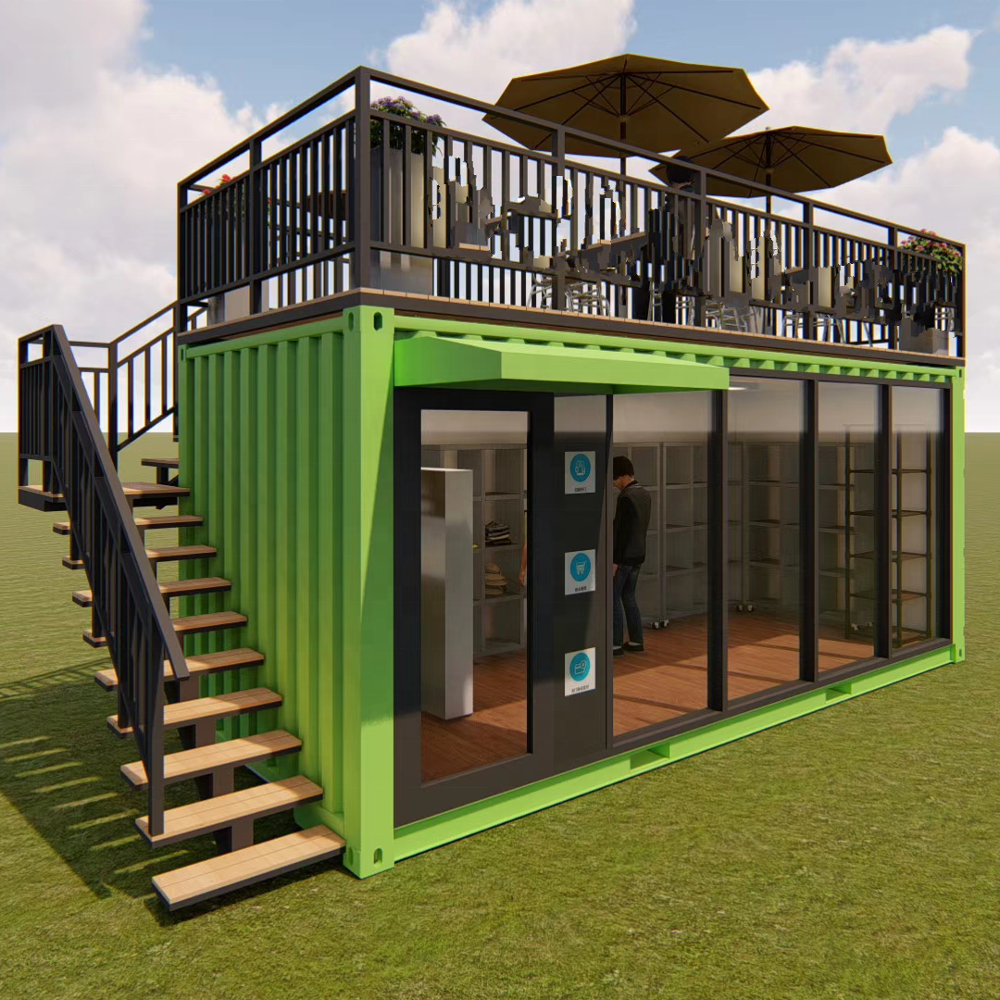 two-story Pop-up container coffee restaurant bar cafe Kiosk,Booth Use steel prefabricated houses