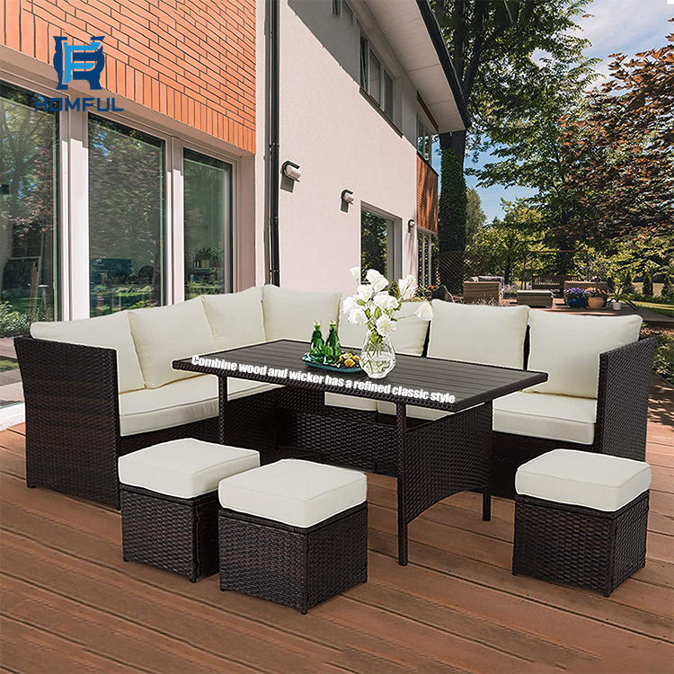 HOMFUL Bistro Sets Patio Chair Garden Table Leisure Rattan Sofa Set Outdoor Wicker Rattan Furniture