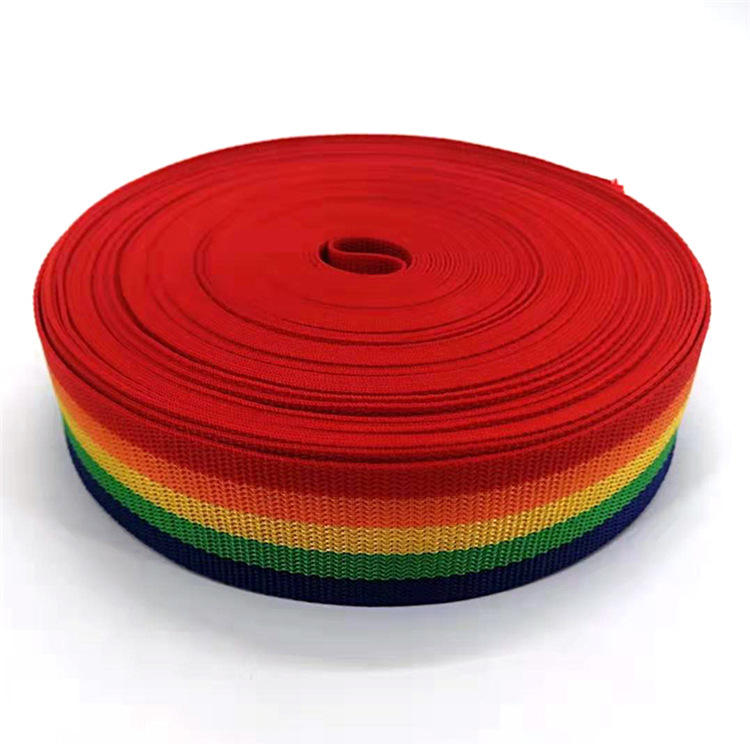 Factory High Quality Custom Rainbow Polyester Strap Webbing 20-50mm PP Webbing Strap Polyester For Garment/Bags