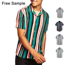 2019 oem stripe mens shirt button fastening wholesale short sleeve shirt