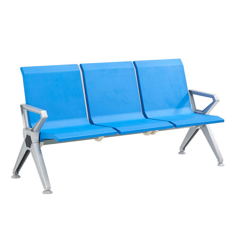 reception waiting chair airport triple bench 3 seater pu foam black blue seat metal furniture hospital waiting room chair