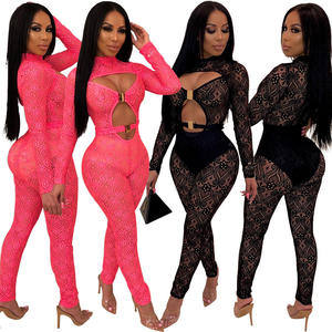 2019 Vrouwen Sexy Kant Een Stuk Jumpsuit Club Party Mesh Band Neon Jumpsuit