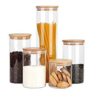Wholesale Amazon Hot Sale Private Label Clear Home Kitchen Food Spice Candy Storage Bottles Glass Jar with Bamboo Lid