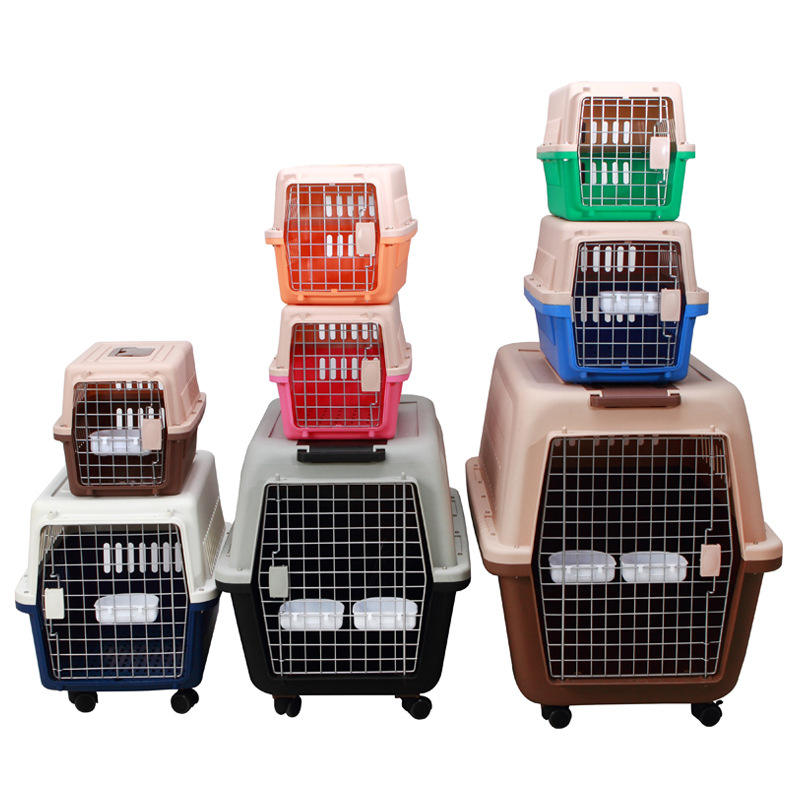 Wholesale Durable Pet Carry Cage Portable Plastic Travel Box Outdoor Airline Pet Cage
