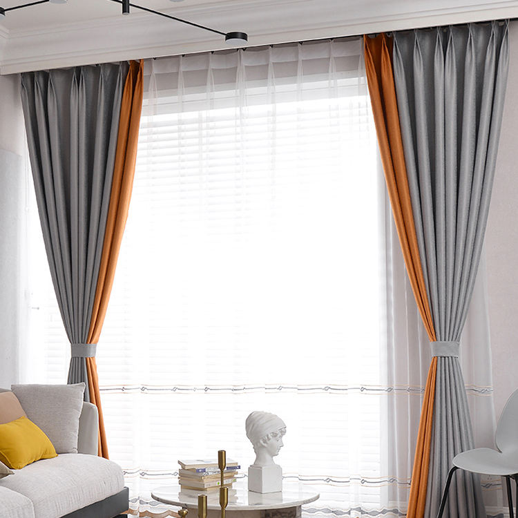 Factory outlet polyester solid color cheap home hotel blackout window curtain