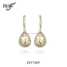 Royi Jewelry Designs 925 Sterling Silver Jewelry Drop Charm Earrings With CZ for Women