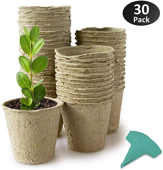 30 Packs 4 Inch Peat Pots Plant Starters for Seedling, Biodegradable Herb Seed Starter Pots Kit, Garden Germination Nursery Pots