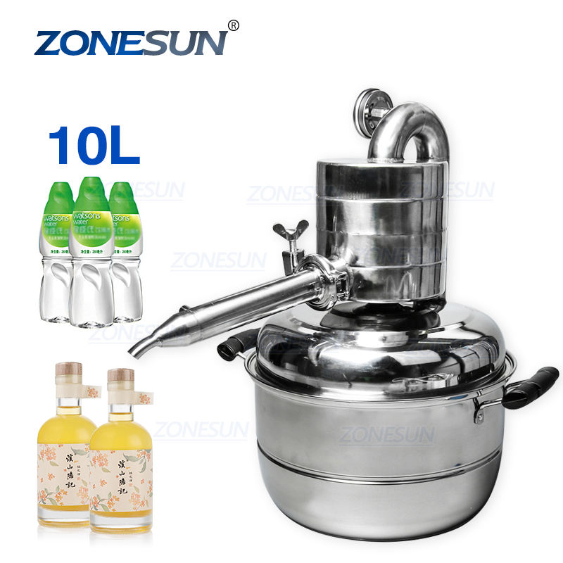 ZONESUN 10L Distiller Bar Household Facilities Wine Limbeck Distilled Water Large Capacity Vodka Maker Brew Alcohol Whisky