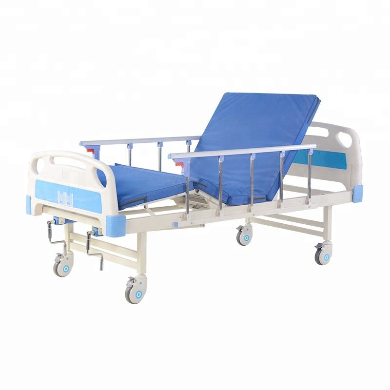 Hospital equipment latest metal bed designs 2 cranks manual hospital bed for sale