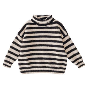 4182/mink winter wear for girls warm turtlenecks striped knit sweater high neck pullover thick jumper baby children Sweater