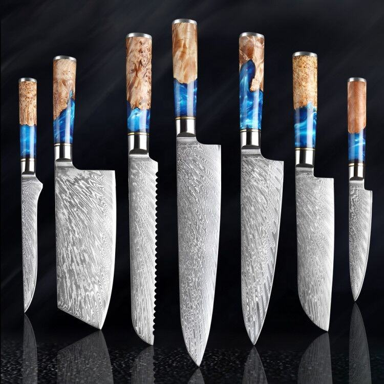 Professional Tiny Wave Blade Pattern G10 Handle Knife Set japanese Damascus knife