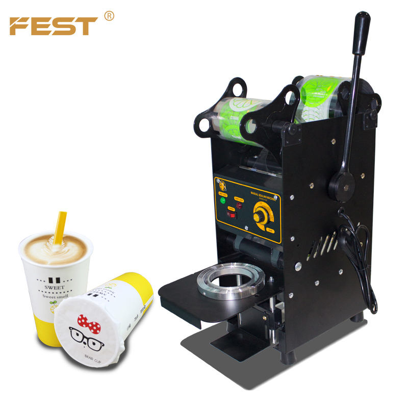 FEST 110V/220V Electric stainless steel body black plastic paper bubble milk tea cup sealing machine semi-automatic
