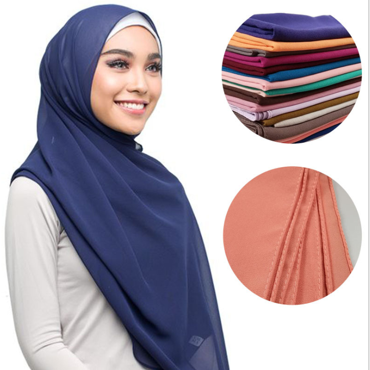 Best selling solid color chiffon shawl wholesale sexy hijab female Malaysian scarf