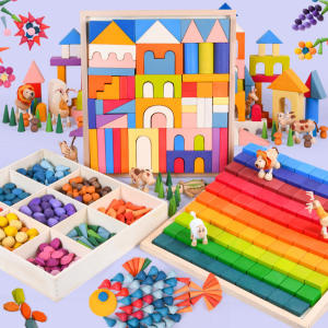 wooden stack Rainbow Building Blocks Wooden Toys For Kids Creative Rainbow Stacker Montessori Educational Toy Children