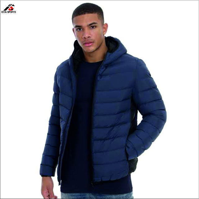 Men's puffer coats customized puffy hooded jackets with printed logo